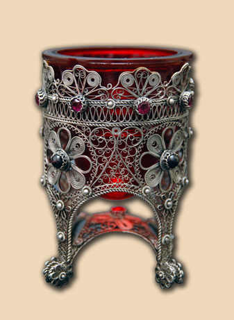 Table silver filigree vigil lamp