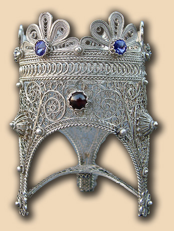 Table silver filigree vigil lamp of Father Nikolai Balashov