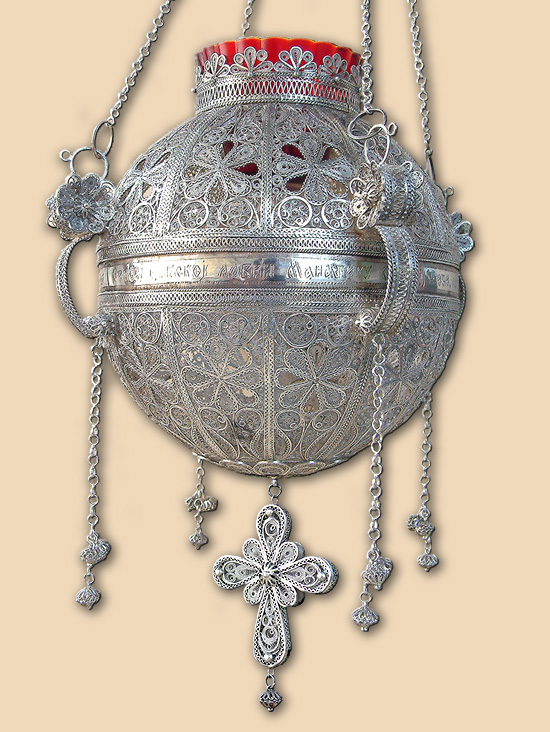 altar silver filigree vigil lamp from Zica monastery