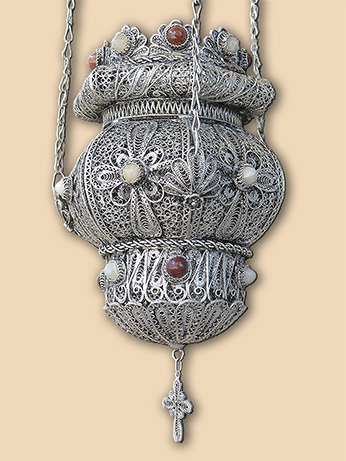 Icon silver filigree vigil lamp Dormition monastery, La Forie
