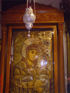 The All Holy Theotokos Bethlehemitissa with silver filigree vigil lamp