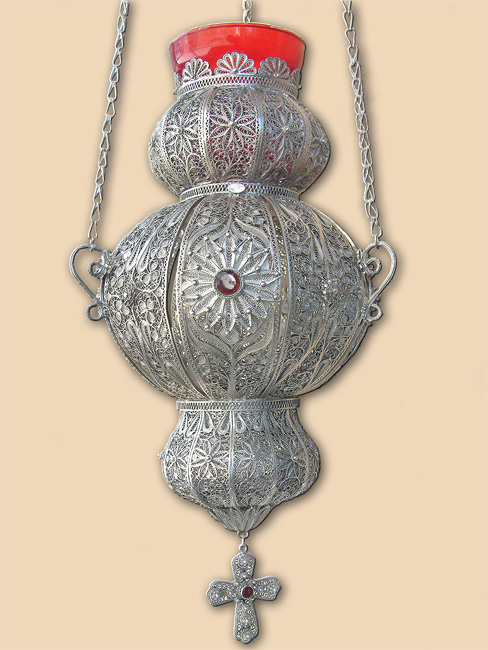 Silver filigree vigil lamp