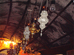 Grotto cieling with silver lamps