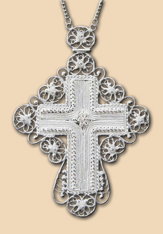 Silver filigree neck cross
