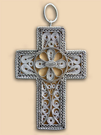 Silver filigree neck cross of Rev. Father Theodore Paraskevopoulos