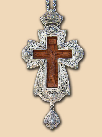 Silver filigree pectoral cross of Bishop John (Mladenovic)
