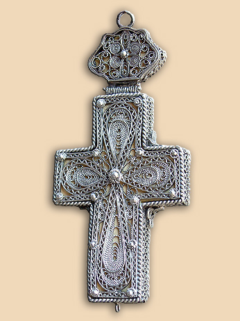 Silver filigree pectoral cross with miniature carving