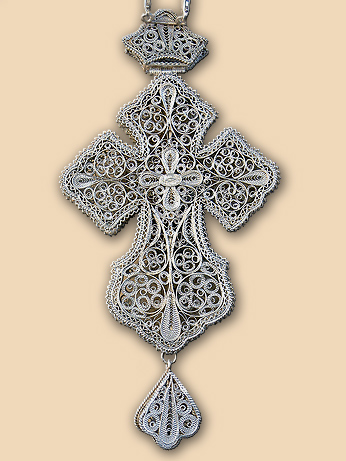 Silver filigree pectoral cross of Bishop Ephraim (Milutinovic)