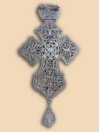 Silver filigree pectoral cross of Abbot Alexis (Bogicevic)
