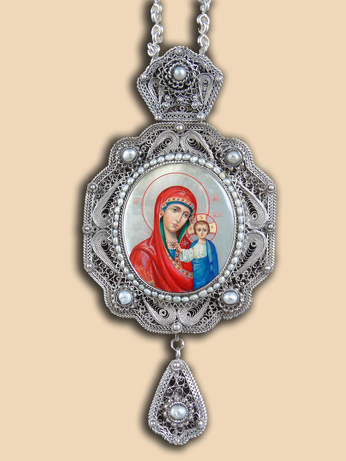 Silver filigree panagia of Bishop John (Mladenovic)