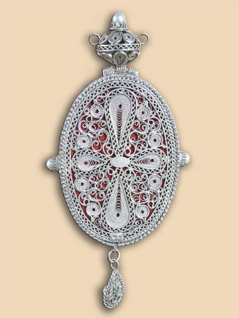 Silver filigree panagia of Bishop Gregorios (Duric)
